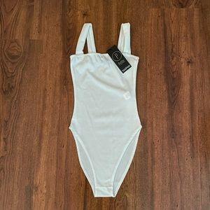 White Boohoo Ribbed Bodysuit